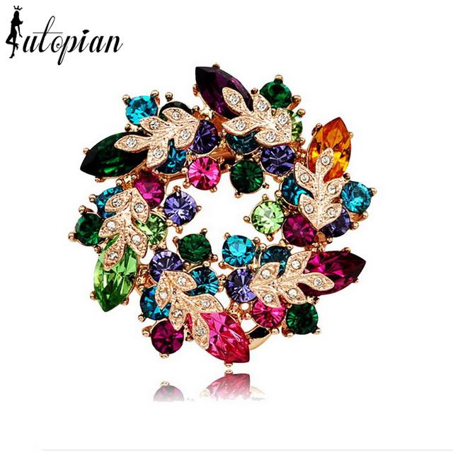 Iutopian nova ariival incrível flor broches com cristal austríaco stellux 3 cores genuine cristal austríaco # ra60125