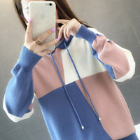 Autumn dress 2019 new Korean style loose cap knitted sweater fashion impact coloring college wind jacket sweater tide