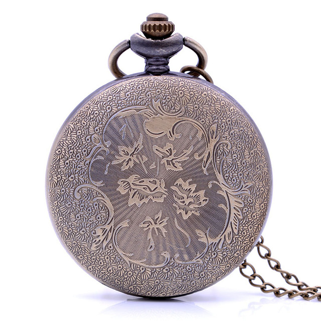 Antique Steampunk Vintage BTS Quartz Pocket Watch Analog Pendant Necklace Chain Mens Womens relogio de bolso Box Bronze Gray