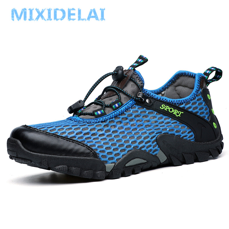 MIXIDELAI 2019 Brand Mens Breathable Mesh Men's Shoes Outdoor Flat Shoes Men Comfortable Handmade Casual Shoes Big Size 38-46