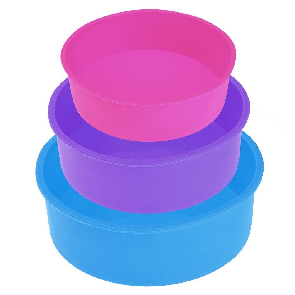 3PCS Round Silicone Cake Baking Pan Tray Form Cheesecake Pan Bakeware Pan for Baking Double-layer Cake