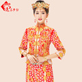 Gold and silver dragon gown Dress  spring and Autumn Chinese style bridal evening dress show clothing Cantonese Embroidery