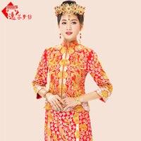 Gold und silber drachen frühling und Herbst Chinesischen stil abendkleid zeigen kleidung Kantonesisch Stickerei