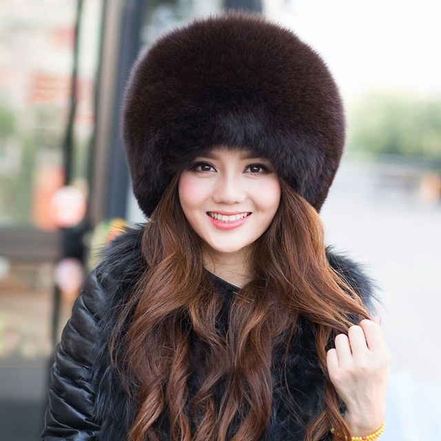 ladies fox fur hats with tails autumn and winter female natural silver blue  fox fur caps white color real fur russia warm style 8f67c543db1