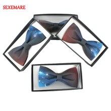 цена на Hand Made Casual Star Sky Printing Bow Tie Mens Womens Galaxy Flower Printing Bow Tie With Gift Box