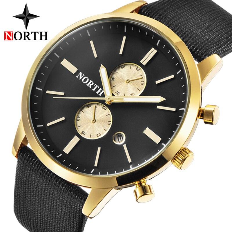 NORTH Mens Watches Top Brand Luxury Quartz Gold Watch Men Casual Leather Military Waterproof Sport Wrist Watch Relogio Masculino