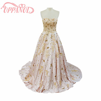 Elegant Light Pink Handmade Appliques Beading Strapless Lace Up Floor Length Evening Prom Dress With Train