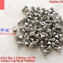 Винты из нержавеющей стали M1.6x3 DIN 912 головкой A2-70 Polished ROHS 100 шт