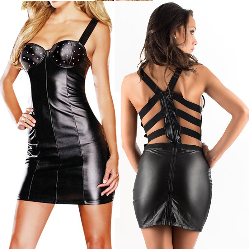 Sexy Leather Dress Ladies Fashion Black Spaghetti Strap Dress Women Club Dress Vinyl Bodycon Evening Mini Backless Party Dresses