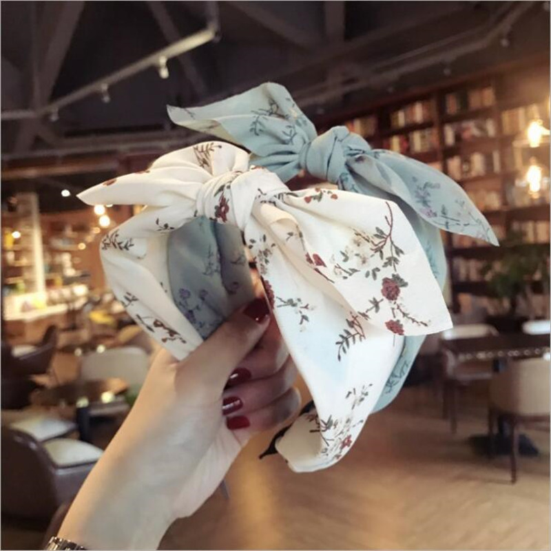 Korean Boutique Hairband Floral Rabbit Ears Headband Women Girls Hair Head Hoop Bands Accessories For Women Hairbands   Headwear