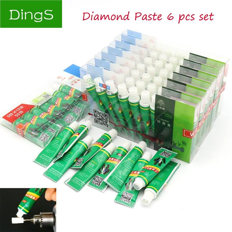 High Quality 6pcs Diamond Abrasive Paste Needle W0.5-W40 Grinding Polishing Tube Lapping Compound Metal Jade Amber Buffing Tools