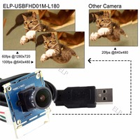 CE FCC Camera 2mp OV2710 Full HD 1080P Wide Angle Fisheye Lens 640x480 100 120fps Usb