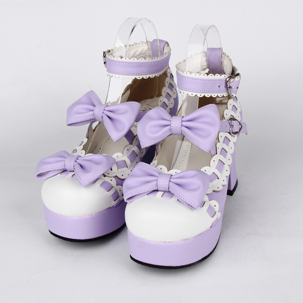 Princess sweet lolita shose Lolilloliyoyo antaina female shoes high heel bow princess shoes 9896a black and white cosplay