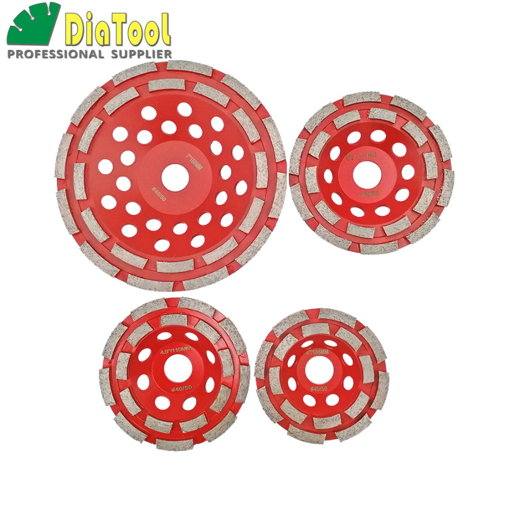 DIATOOL 1pc Diamond Double Row Cup Wheel Grinding Disc Concrete Grinding Wheel Dia 4/4.5/5/7 in Professional Diamond Wheel 1pc 4 6 diamond pencil grinding wheel for 3 12mm glass round edge processing bronze bond wheel m001
