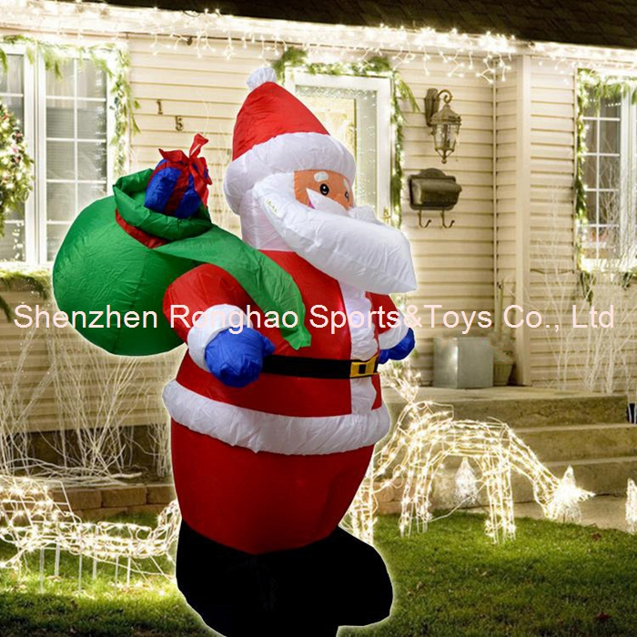 christmas inflatable santa claus carry gift bag yard garden decoration 4 feet in pendant drop ornaments from home garden on aliexpresscom alibaba - Cheap Inflatable Christmas Lawn Decorations