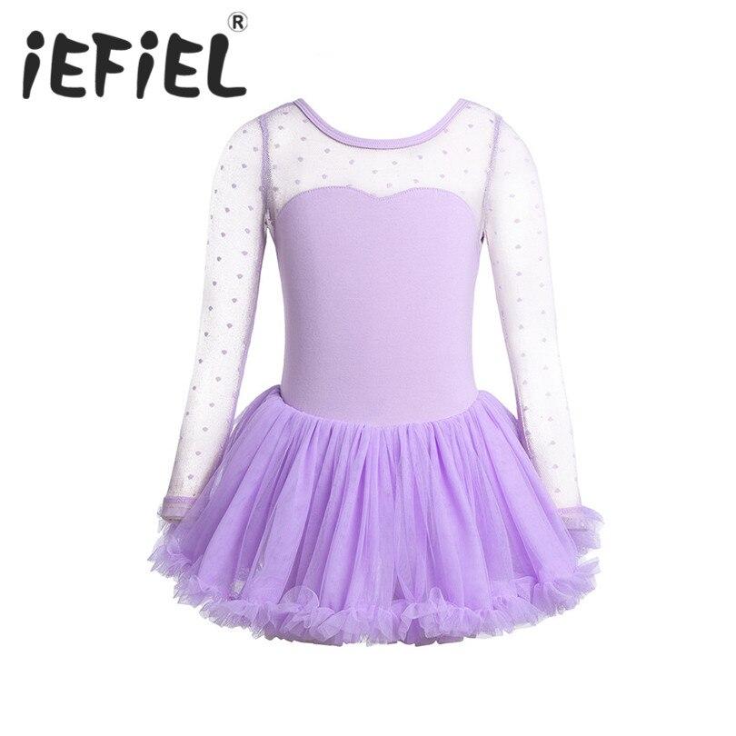iEFiEL Girls Child Ballet Dancer Leotard Polka Dots Mesh Ballet Tulle Dress Kids Ballet Costumes Girls Dance Leotard Dancewear