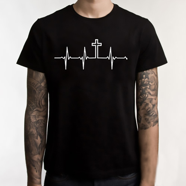 4fc1a829a Jesus T Shirt Fashion T Shirt Men Tops Cotton JESUS Tshirt Religious Faith  CHRIST Graphic Tees Creative T-shirt Black XS-3XL