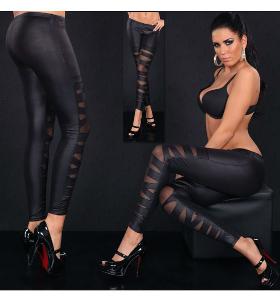 Lady Cross Band Fake Leather Pants Sexy Elastic Leggings Black Hallow Out Capris Party Night Bar Costomes Stripe Trousers