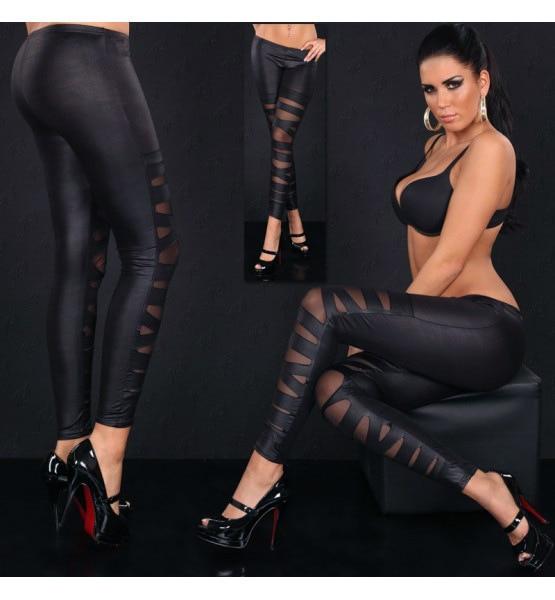 Pants Trousers Capris Elastic Leggings Cross-Band Night-Bar Sexy Black Stripe Lady Party