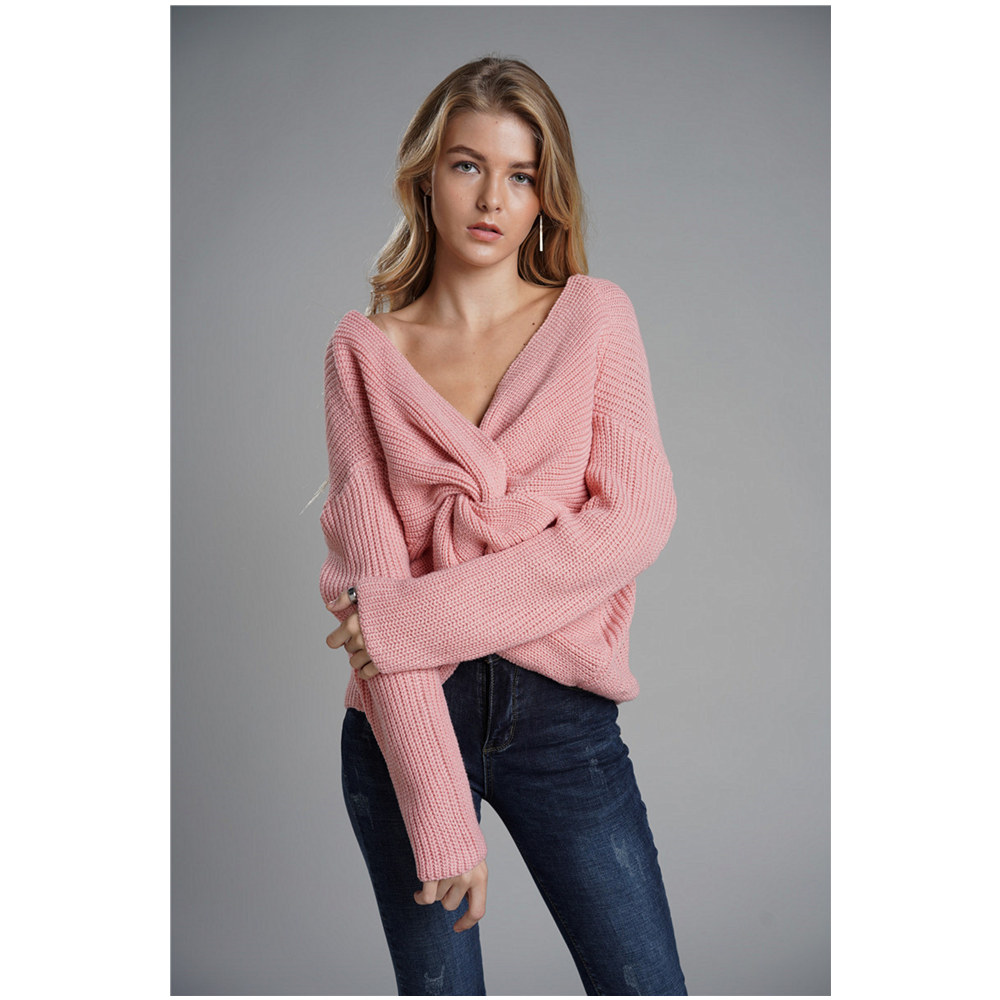 3 Colors Winter Top selling Sweater Women reversible deep V neck Low Cut Backless Sexy Pullover Knitwear Sweaters woman top