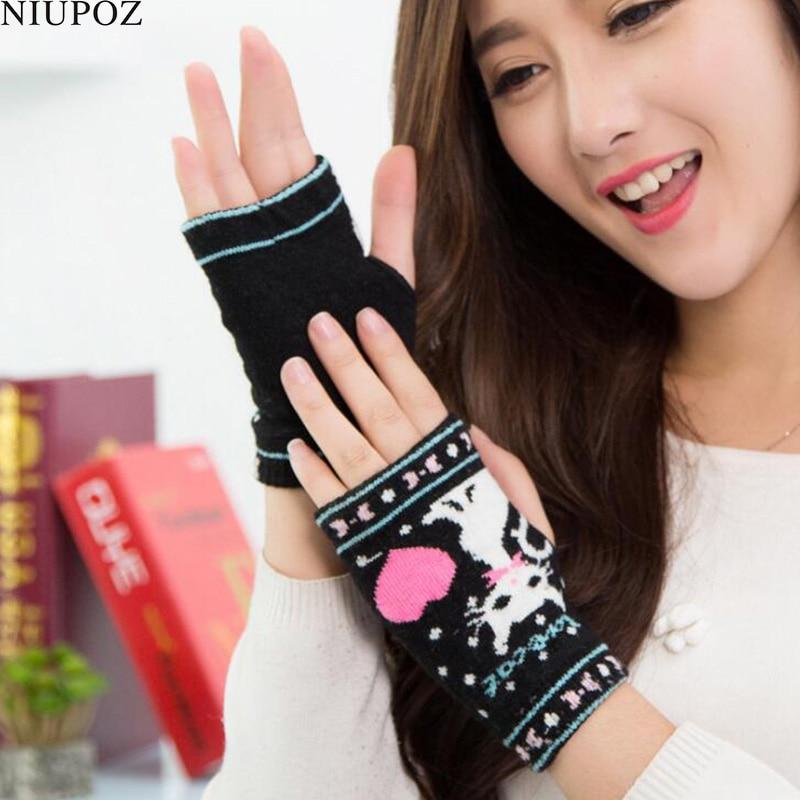 Female Lovely Knitted Cartoon Cat Gloves Without Fingers Mitten Winter Women Half Finger Ladies Fingerless Warm Heart Gloves G92