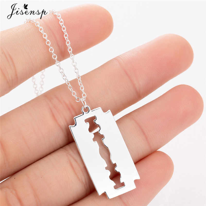 Jisensp Stainless Steel Razor Blades Pendant Necklaces Men Jewelry Steel Shaver Shape Necklaces & Pendants Women Collares