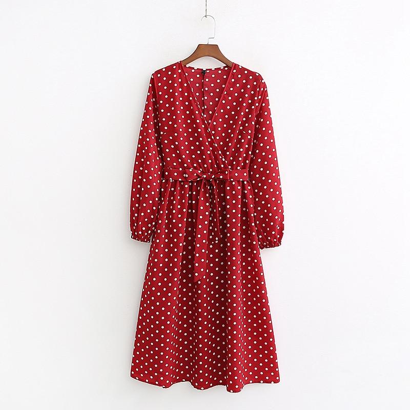 QZ181 Vintage Polka Dot Print V Neck Slim Waist Bow Knot Red Dress Women Retro Hepburn Vestidos
