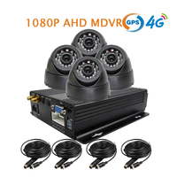 Free Shipping NEW 4 Channel GPS 4G 1080P AHD SD Car DVR MDVR Video Recorder Realtime Monitor InCar Dome Camera for Truck Van Bus