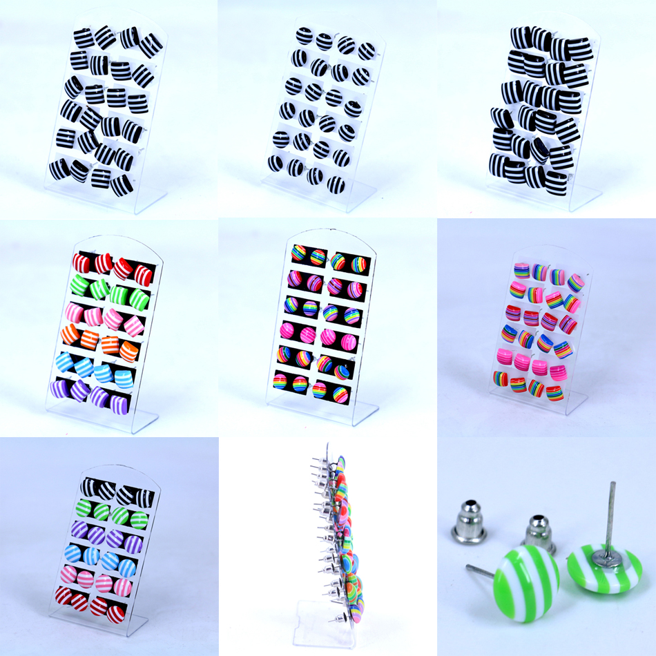 Free Shipping Cheap Cute Iron Stick Ear Studs Round Square Colorful Rainbow Stripe Design Plastic Resin Stud Earrings 12pairs