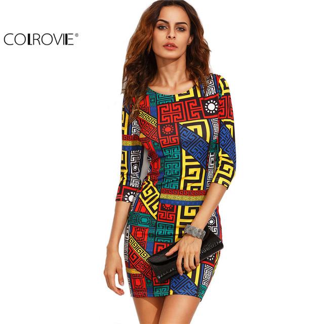 COLROVIE Long Sleeve Bodycon Dress Autumn Women Dress Multicolor Meander Pattern Print  Mini Sexy 2016 Fall Dress