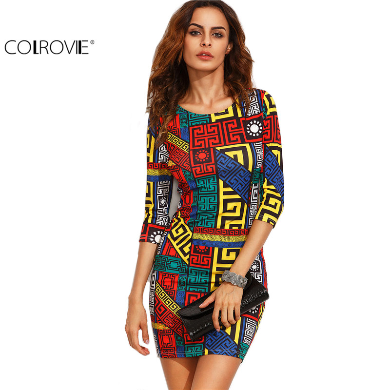 COLROVIE Long Sleeve Bodycon Dress Autumn Women Dress Multicolor Meander Pattern Print  Mini Sexy Fall Dress