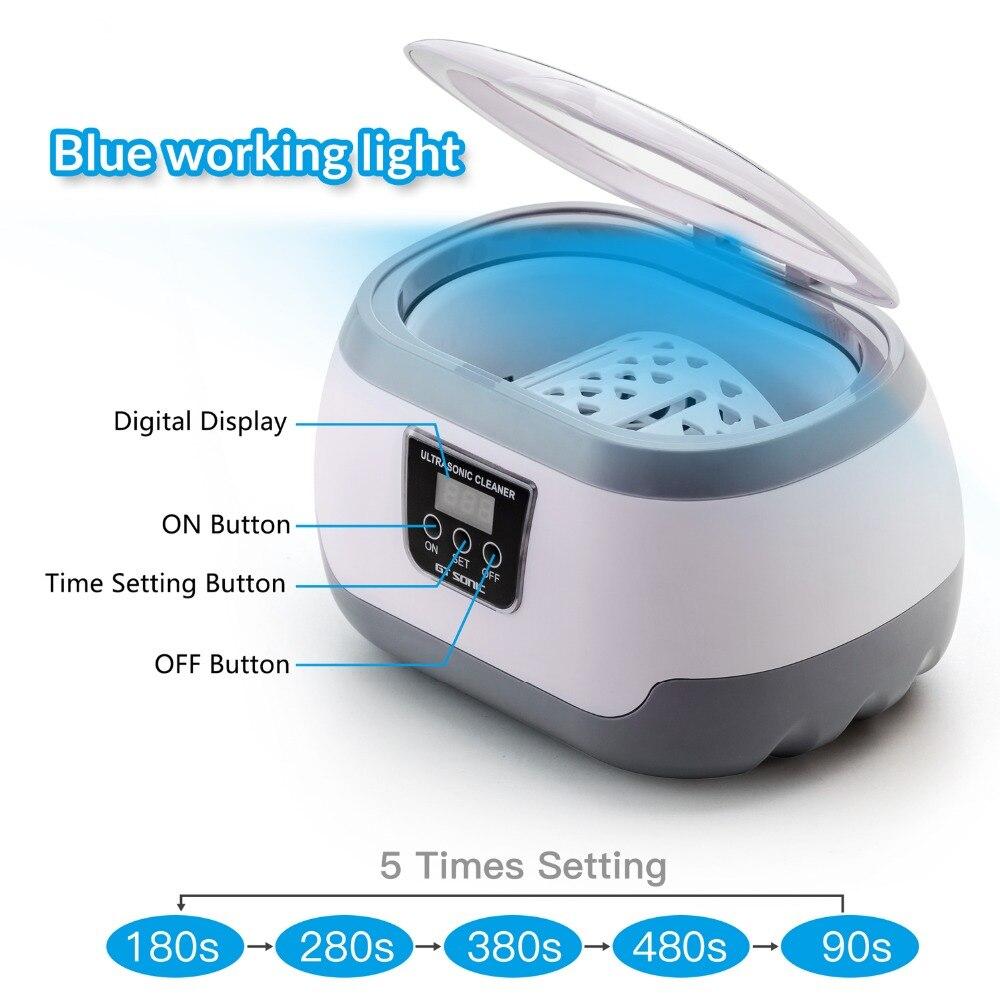 GTSONIC 600ML Ultrasonic Cleaner Bath Timer for Jewelry Parts Glasses Manicure Stones Cutters Dental Razor Brush