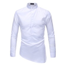 Brand New Men's Cut Bottom Casual Shirt Social Solid Color Shirt Full Sleeve Turn Down Collar