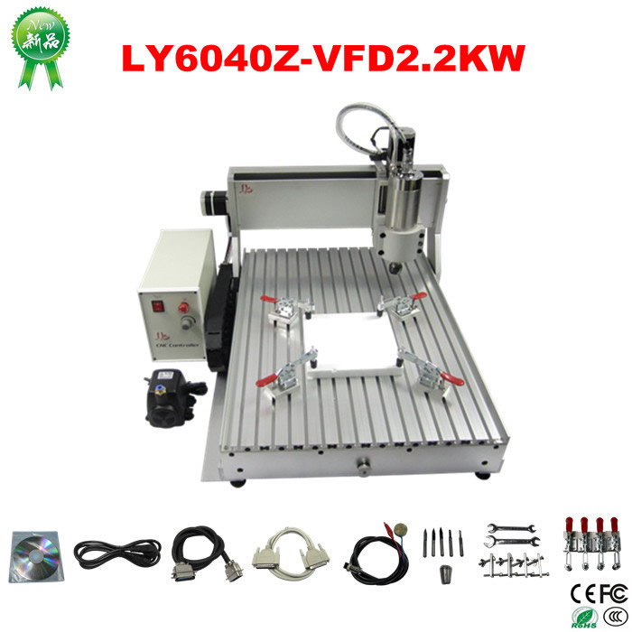 RU no tax Engraving Drilling and Milling Machine LY CNC 6040Z-VFD2.2KW router air cooling spindle mini ly 300w cnc router 6040 drilling and engraving machine for wood pcb ar and acrylic milling and cutting