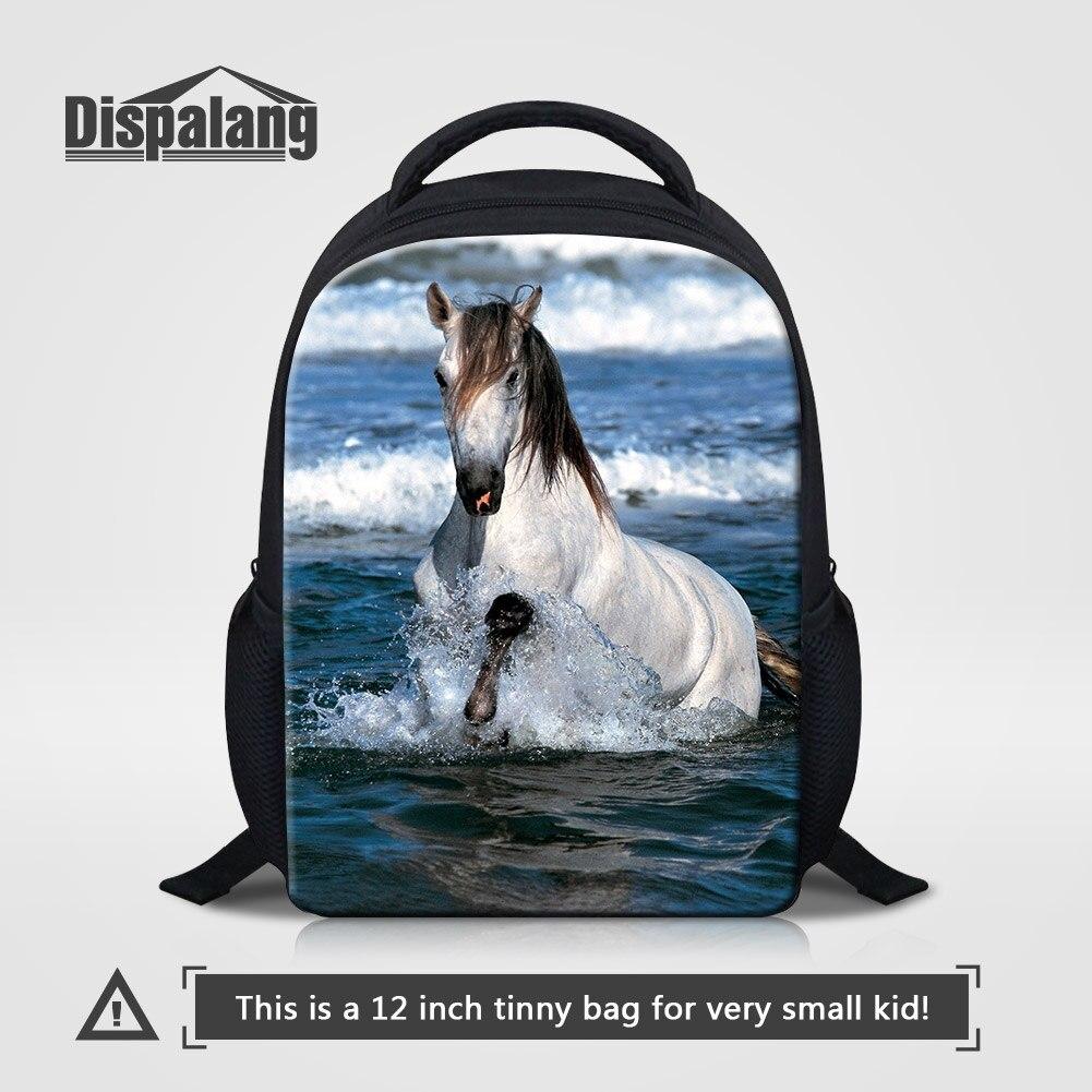 Dispalang Çocuklar Okul Çantalarını Kişiselleştirilmiş At Tasarım Sırt Çantası Çocuklar Için 12 Inç Mini Mochilas Hayvan Baskılar Sırt Çantaları