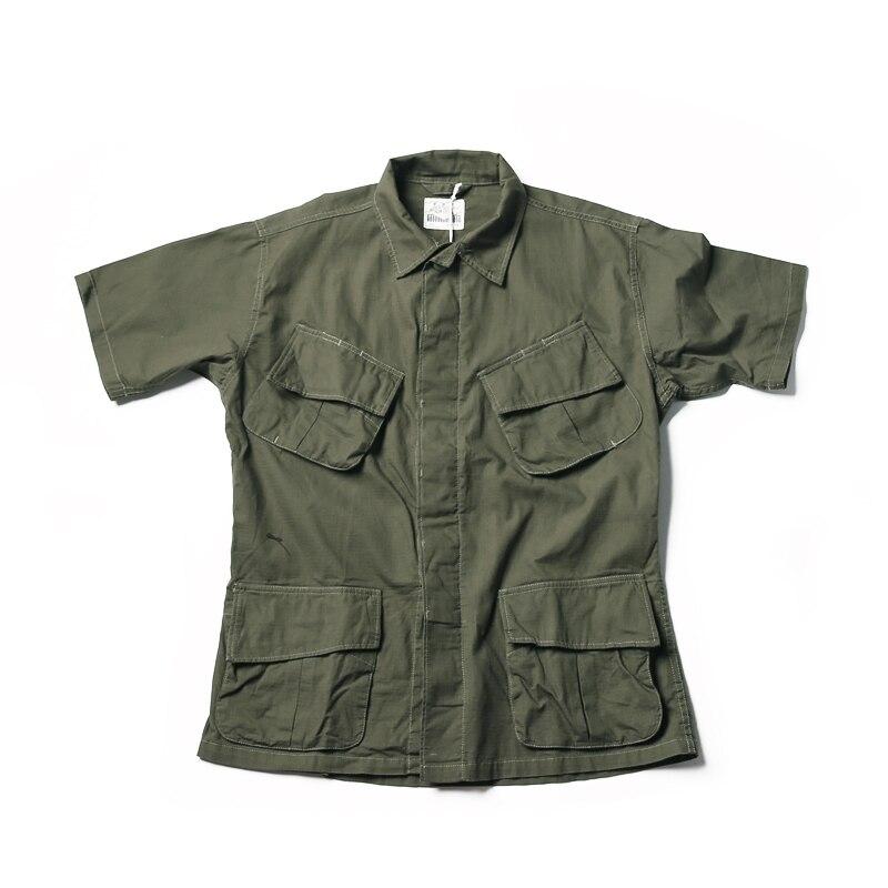 Sin STOCK TCU Ripstop Slant bolsillo jungla camisas militar fatiga mangas cortas-in Camisas casuales from Ropa de hombre    1