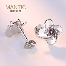100% 925 Sterling Silver Clover Flower With Zircons stone stud Earrings for Women Female Bijoux Jewelry Brincos Mujer MT0045