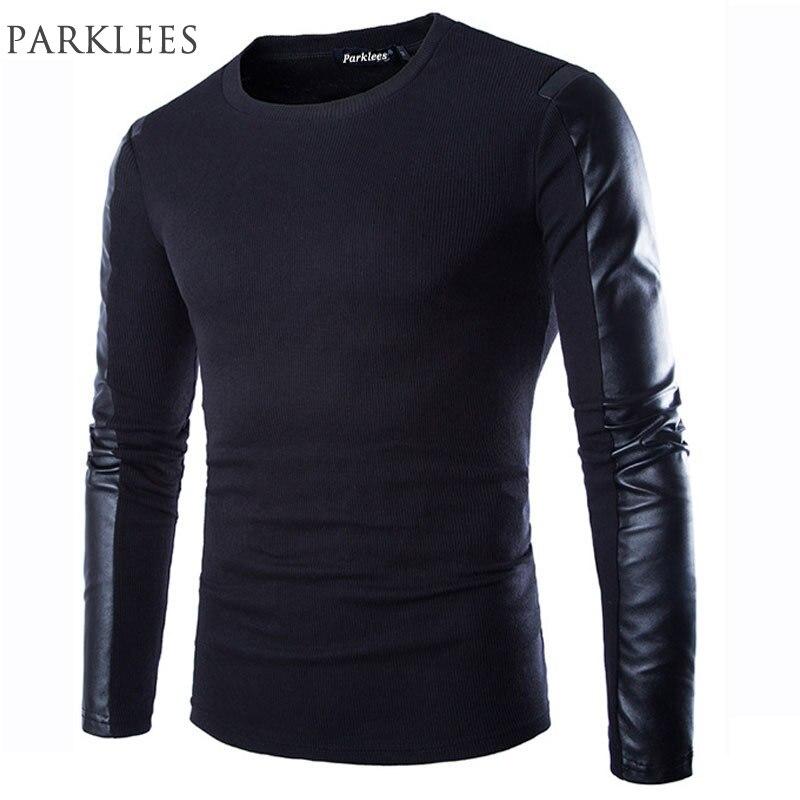 2016 New Arrival T Shirt Men Long Sleeve Spring Fashion Mens Black Pu Leather Tshirt Casual Brand Fitness T-shirt Xxl