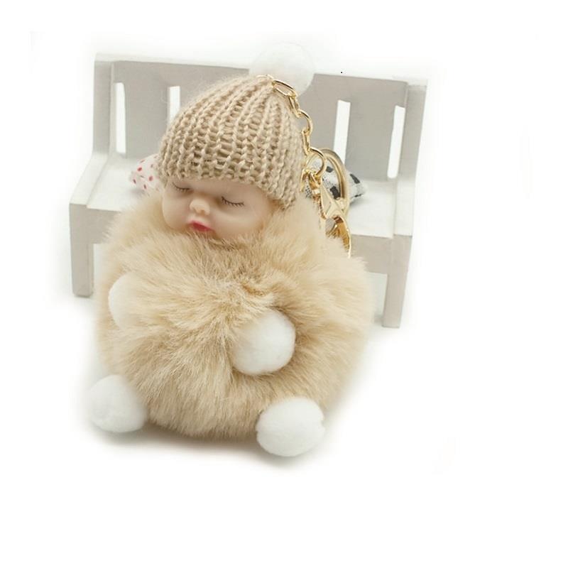 Fashion Fur Ball Doll Keychain Sleeping Baby Foot and Hand Doll Pompom Rabbit Fur Key Chain Car Keyring Key Holder Charm Jewelry