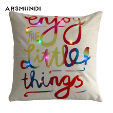 Flax Vintage Home Letter Pillow Case LED Pillowcase Living room decorative Cute Cover