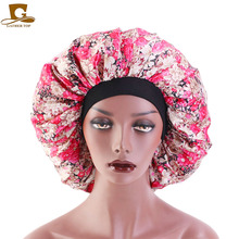 New Lady Large Sleep Cap with Premium Elastic Band Women Female Casual Satin Bonnet for Sleeping Extra Layer Super Smooth