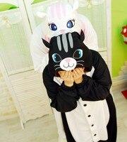 คู่รักคู่แฟนซีคอสเพลย์สีดำ/สีขาวแมวแต่งกายSleepsuitผู้ใหญ่ชุดนอนOne Pieceการ์ตูนชุดนอนสัตว์kugurumiOnsies