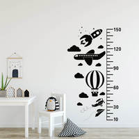 Blue Sky Growth Chart Decal Rocket Helicopter Airplane Hot Air Balloon Growth Chart Wall Sticker 765N