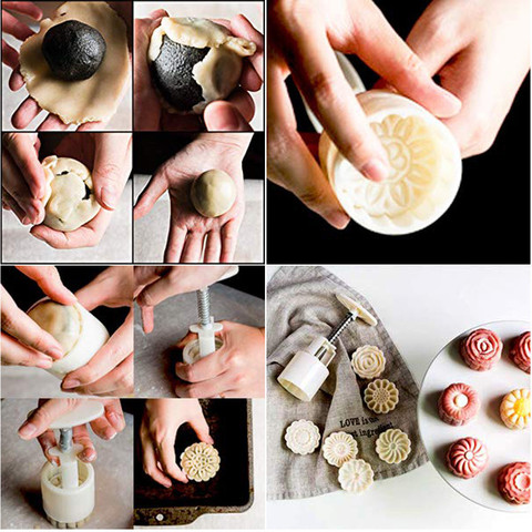 Dropshipping Mooncake Mold Flower Mid-autumn Festival Hand Press Moon Cake Cutter Molds Set Multan