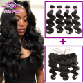 Cheap 8A Malaysian Virgin Hair Body Wave 3/4 Bundles With Closure 13x4 Lace Frontal Closure With Bundles Human Hair With Frontal