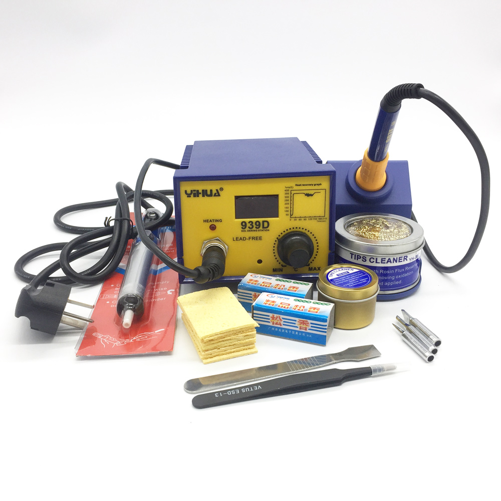 YIHUA 939D 75W Constant Temperature Lead-free Soldering Station with Soldering Iron+lots gift esd safe 75w soldering handpiece t245a solder iron handle for di3000 intelligent soldering station