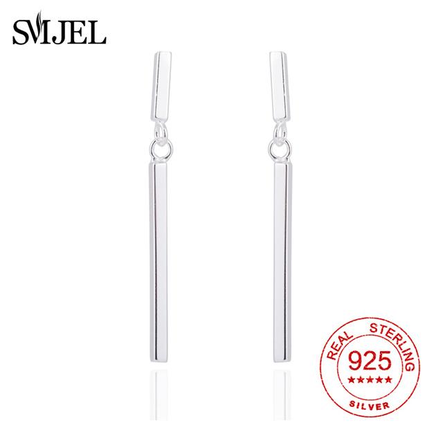 SMJE Real 925 Sterling Silver Simple Bar Earrings Stud for Women Long Bar Tassel Stick Earrings Wholesale Geometry Brincos Bijou