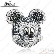 Date Mousseux Mickey Portrait de Charme Perles Authentique 925 Sterling Argent Multicolore Micro CZ Cristal Mickey Charme Pour Femmes