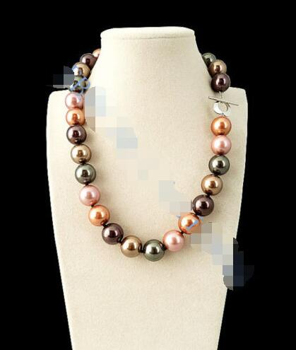 Pretty!14mm Multicolor South Sea shell Pearl Necklace 18 >ePacket free shipping image
