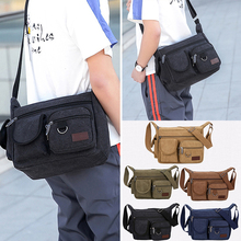 Men Casual Solid Canvas Handbag Versatile Travel Messenger Bag